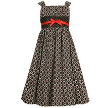 Size-14.5 BNJ-2329B BLACK WHITE RED FLORAL PRINT EMPIRE WAIST Special Occasio... - £37.81 GBP