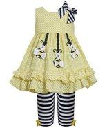 Yellow Hanging Bumble Bee Seersucker Dress/Legging Set YL2BU, Yellow, Bo... - $30.49