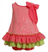 Size-12M, Pink, BNJ-2331S, 2-Piece Neon-Pink and Green Foil Dot Tiered Ruffle...