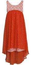 Orange White Floral Print High Low Laser Cut Chiffon Dress OR4BA, Orange, Bon...