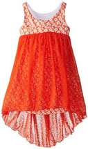 Bonnie Jean Little Girls' Laser Chiffon Hi-Low Dress, Orange, 6X [Apparel]