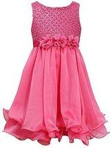 Little Girls 4-6X Fuchsia-Pink Sequin Flock Dot Wire Hem Yoryu Chiffon Dress ...