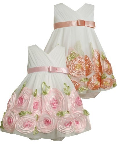 Cross Over Bonaz Rosette Border Mesh Dress CO1HB, Coral, Bonnie Jean Baby-Infant