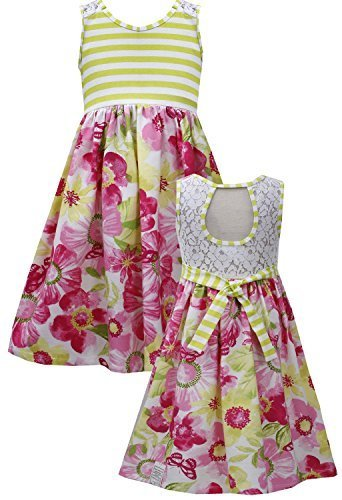 Little Girls 4-6X Lime-Green Pink Cut Out Lace Back Floral Print Knit Dress (...