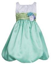 Aqua White Colorblock Shantung Bubble Dress AQ4TA, Aqua, Bonnie Jean Tween Girls
