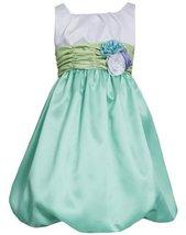 Aqua White Colorblock Shantung Bubble Dress AQ8MB, Aqua, Bonnie Jean Girl Plus