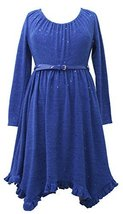 765898 Little Girl 4-6X Royal-Blue Belted Spangle Dot Fuzzy Knit Hanky Hen Dr...