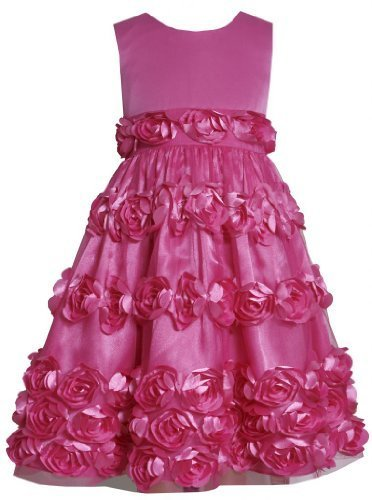 Fuchsia-Pink Bonaz Rosette Border Mesh Overlay Dress FU3SP, Fuchsia, Bonnie J...