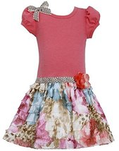 Little Girls 2T-6X Coral Knit to Multi Floral Print Eyelash Ruffle Drop Waist...