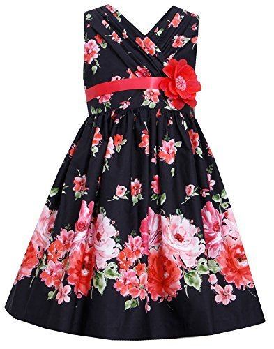 Big-Girls Tween Black Red Bold Floral Print Cross Over Cotton Dress, BK4BA, B...