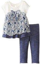 Bonnie Jean Baby Girls 3M-24M Knit Chambray Lace Dress/Legging Set (24 Months...