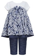Little Girls 2T-6X Blue White Floral Lace Knit Chambray Dress/Legging Set (2T...