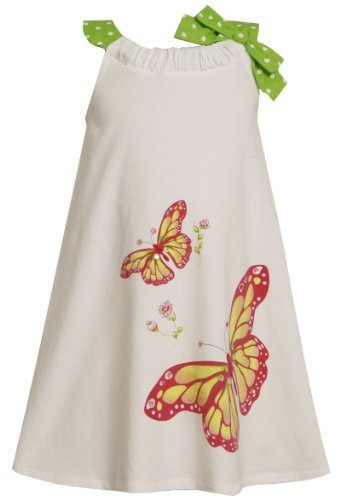 Size-5 BNJ-3198M WHITE KNIT PULL-THRU NECKLINE SEQUIN BUTTERFLY SCREENPRINT S...