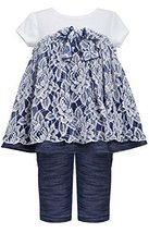 Baby Girls 3M-24M Blue White Floral Lace Knit Chambray Dress/Legging Set (3/6...