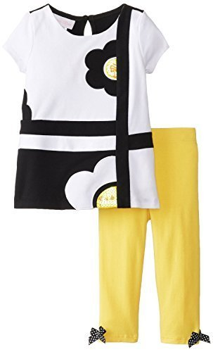 Little Girls Yellow/Black/White Geometric Flower Applique Legging Set, Black/...