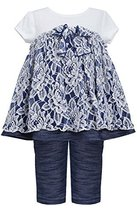 Baby Girls 3M-24M Blue White Floral Lace Knit Chambray Dress/Legging Set (12M...