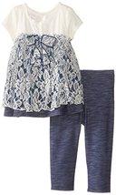 Bonnie Jean Little Girls 2T-6X Knit Chambray Legging Set (3T, Blue) [Apparel]
