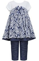 Little Girls 2T-6X Blue White Floral Lace Knit Chambray Dress/Legging Set (3T...
