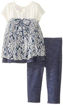 Bonnie Jean Little Girls 2T-6X Knit Chambray Legging Set (4T, Blue) [Apparel]