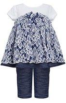 Baby Girls 3M-24M Blue White Floral Lace Knit Chambray Dress/Legging Set (18M...