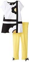 Bonnie Jean Little Girls' 2T-6X Flower Power Legging Set (4, Black/White)
