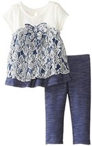 Bonnie Jean Baby Girls 3M-24M Knit Chambray Lace Dress/Legging Set (18 Months... - $31.88