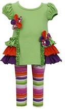 Bonnie Jean Little Girls' Floral Ruffle Legging Set, Green, 3-Tall [Apparel]