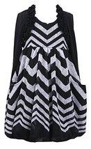 Chevron Stripe Knit Bubble Dress with Faux Shrug Jacket, Bonnie Jean, Black, ...