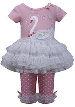Baby Girls 3M-24M Pink White Sequin Swan Applique Tutu Dress/Legging Set (3/6... image 1