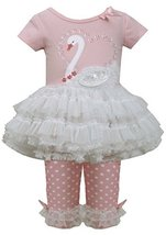 Baby Girls 3M-24M Pink White Sequin Swan Applique Tutu Dress/Legging Set (3/6... image 2