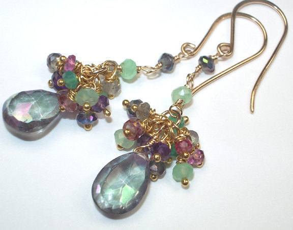 Mystic Topaz Earrings Multicolor Gemstone Cluster Handcrafted Gold