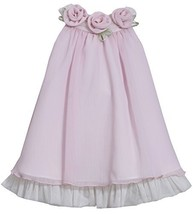 Little-Girls 2T-6X Pink Rosette Neckline Chiffon Trapeze Dress, 3T, Pink, Bon...