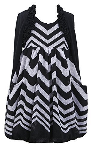 Little Girls Chevron Stripe Knit Bubble Dress with Faux Shrug Jacket, Bonnie ...