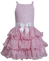 Bonnie Jean Big Girls Pink Sparkly Bow Accent Tiered Easter Dress 12 [Apparel...
