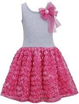 Little Girls 2T-6X Fuchsia-Pink Bow Shoulder Knit to Bonaz Rosette Dress (3T,...