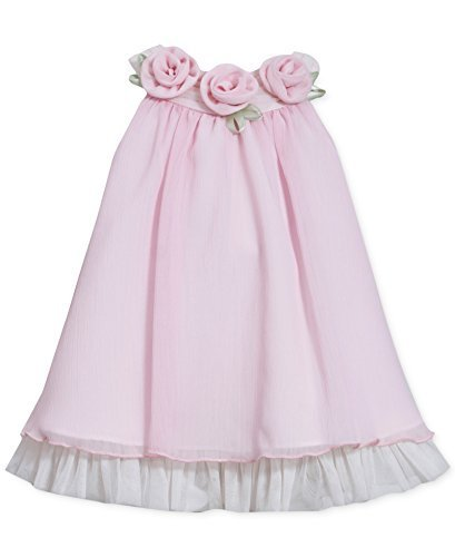 Little Girls 2t-6x Pink Rosette Neckline Chiffon Trapeze Dress (6, Pink)