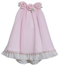 Baby-Girls INFANT 12M-24M Pink Rosette Neckline Chiffon Trapeze Dress, 12 Mon...
