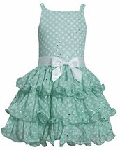 Little Girls 2T-6X Green White Spangle Dot Tier Chiffon Dress, Green, 2T, TDLG