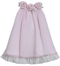 Little-Girls 2T-6X Pink Rosette Neckline Chiffon Trapeze Dress, 2T, Pink, Bon...