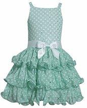 Little Girls 2T-6X Green White Spangle Dot Tier Chiffon Dress, GN2BA, Green, ... - $35.84