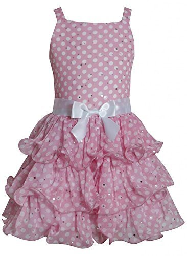 Pink White Sparkle Dot Curvy Wire Tier Chiffon Dress PK4TA, Pink, Bonnie Jean...