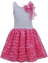 Little Girls 2T-6X Fuchsia-Pink Bow Shoulder Knit to Bonaz Rosette Dress (6, ...