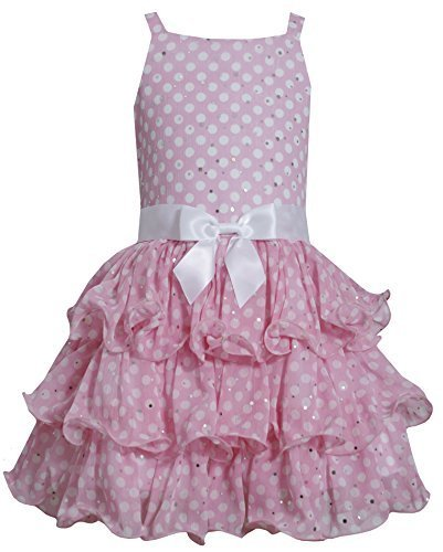 Big-Girls TWEEN 7-16 Pink White Sparkle Dot Tier Chiffon Drop Waist Dress, Pi...