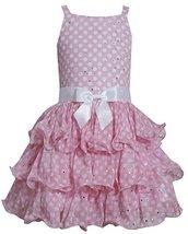 Big-Girls TWEEN 7-16 Pink White Sparkle Dot Tier Chiffon Drop Waist Dress, Pi...