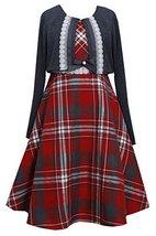 Little Girls 2T-6X Metallic Plaid Lace Trim Dress/Jacket Set, Bonnie Jean (6X...