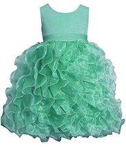 Little Girls Mint-Green Shimmer Knit to Cascade Organza Dress, MN3SP, Mint, B...