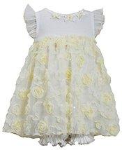 Baby Girls Newborn 3M-9M Yellow White Sequin Bonaz Rosette Coverall Dress (3-...