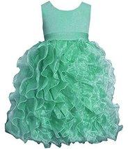 Big-Girls Tween 7-16 Mint-Green Shimmer Knit to Cascade Organza Dress, 12, Mi...
