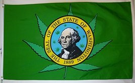 Washington State Marijuana Leaf Flag 3' X 5' Indoor Outdoor Banner - $9.95