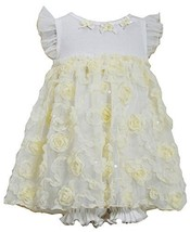 Baby Girls Newborn 3M-9M Yellow White Sequin Bonaz Rosette Coverall Dress, YL...